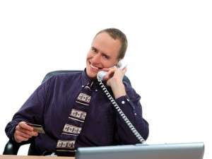 hotel sales manager on telephone